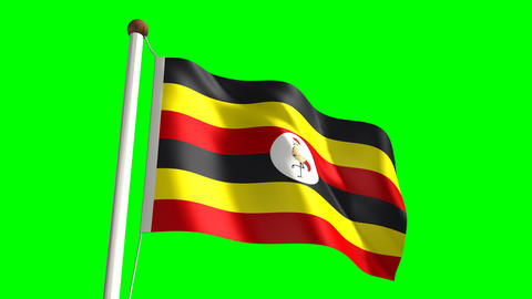Uganda flag Stock Video Footage