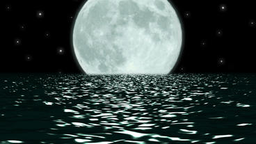 Ocean Night Large Moon Fantasy Scene Seamlessly Lo Stock Video Footage