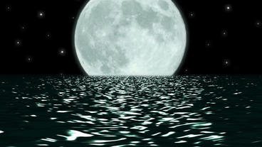 Ocean Night Large Moon Fantasy Scene Seamlessly Lo stock footage