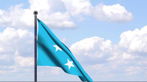 Animated Flag of Micronesia / Mikronesien Stock Video Footage