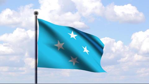 Animated Flag of Micronesia / Mikronesien Stock Video Footage