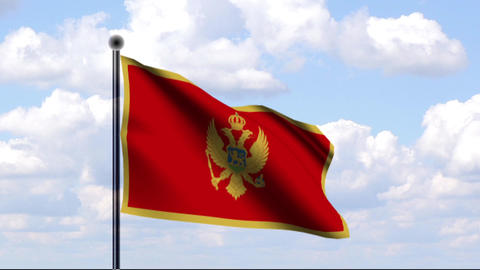 Animated Flag of Montenegro Stock Video Footage