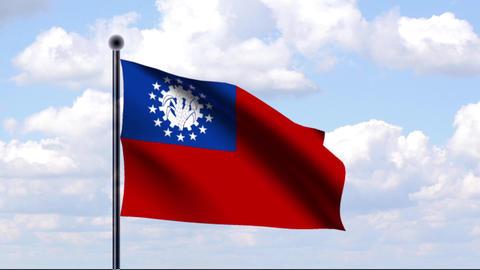 Animated Flag of Myanmar Stock Video Footage