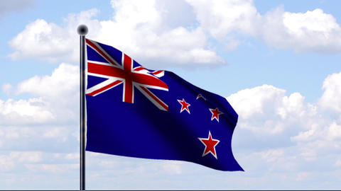 Animated Flag of New Zealand / Neuseeland Stock Video Footage