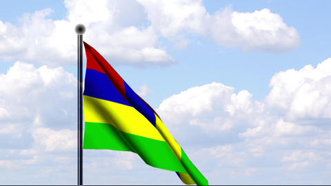 Animated Flag of Mauritius Stock Video Footage