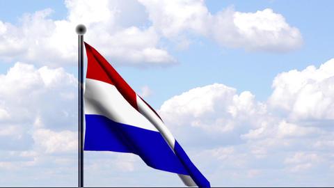 Animated Flag of Netherlands / Niederlande Stock Video Footage