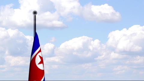Animated Flag of North Korea / Nordkorea Stock Video Footage