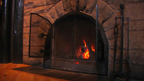 Wood burns in a fireplace Stock Video Footage