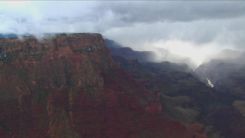 Fog covers layers of mountains in Grand Canyon Nat Stock Video Footage