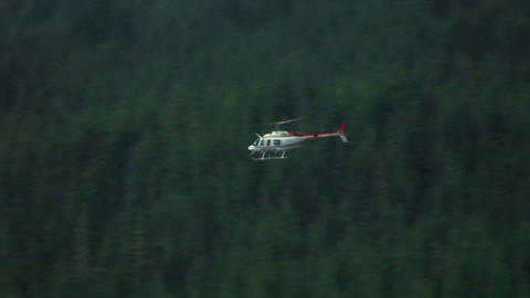 A helicopter flies over forested hills at Mt. St.  Footage