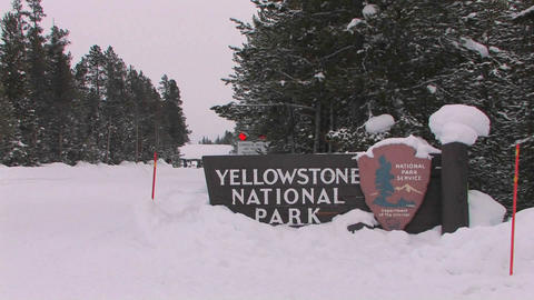 The entrance to Yellowstone National Park in winte, Live Action