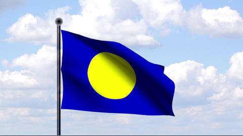 Animated Flag of Palau Stock Video Footage