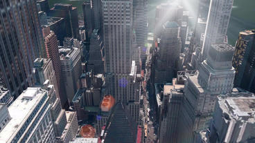 aerial view of New york building & sunlight,spectacular city landscape Animation