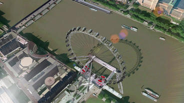 a bird's-eye view of London eye Animation