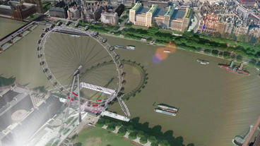 Aerial view of London eye Stock Video Footage