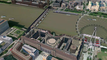 Aerial view of London eye Animation