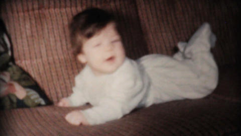 Cute Baby Laying On Sofa 1961 Vintage 8mm film Footage