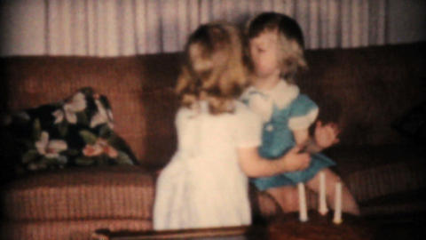 Sisters Kissing And Enjoying A Birthday Song 1961 Stock Video Footage