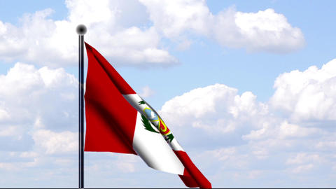 Animated Flag of Peru / Animierte Flagge von Peru Stock Video Footage