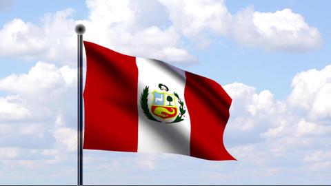 Animated Flag of Peru / Animierte Flagge von Peru Stock Video Footage