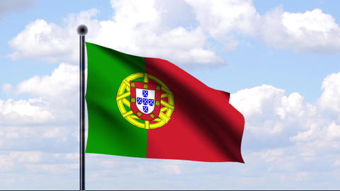 Animated Flag of Portugal Stock Video Footage