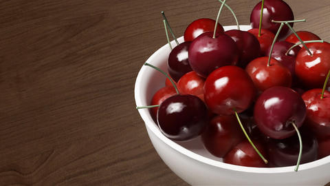 cherry close up wood background Stock Video Footage