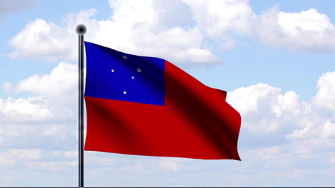 Animated Flag of Samoa Stock Video Footage
