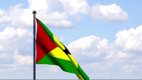 Animated Flag of Sao Tome and Principe Stock Video Footage