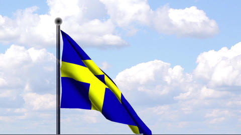 Animated Flag of Sweden / Schweden Stock Video Footage