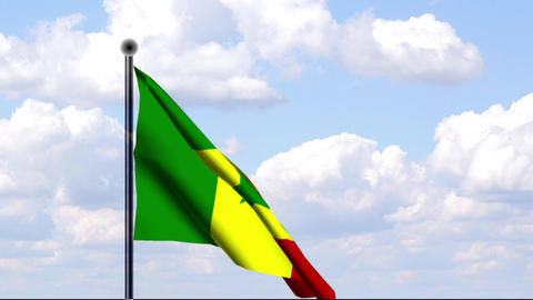 Animated Flag of Senegal Stock Video Footage