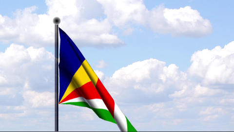 Animated Flag of Seychelles / Seychellen Stock Video Footage