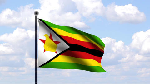 Animated Flag of Zimbabwe / Simbabwe Stock Video Footage