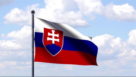 Animated Flag of Slovakia / Slowakei Stock Video Footage