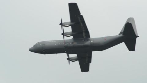 Lockheed C 130 J Super Hercules fly along 10963 Stock Video Footage