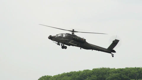 Apache AH 64 Helicopter crossing 10965 Stock Video Footage