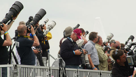 10967 Reporter Spotter with big camera lenses Footage