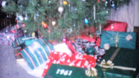 Christmas Presents Surrounding The Tree 1961 Vinta Stock Video Footage