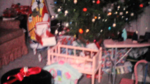 Christmas Presents Surrounding The Tree 1961 Vinta Stock Video Footage