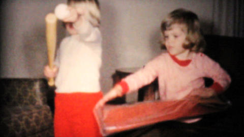Girl Gets Baseball Set For Birthday 1961 Vintage Stock Video Footage