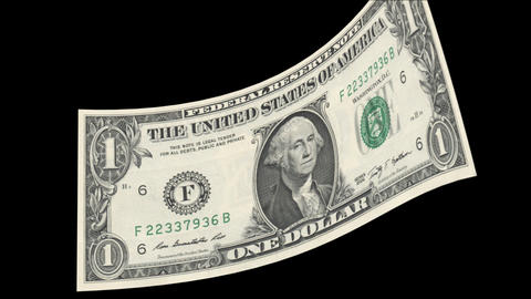 US One Dollar Bill blowing in the wind Stock Video Footage