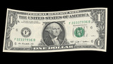 US One Dollar Bill blowing in the wind Animation