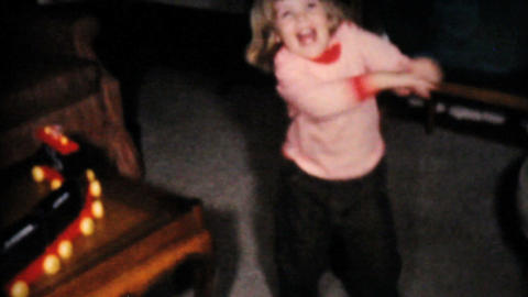 Two Year Old Girl Dances In Living Room 1961 Vinta Stock Video Footage
