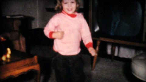 Two Year Old Girl Dances In Living Room 1961 Vinta Footage
