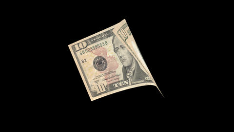 US 10 Dollar Bill blowing in the wind Stock Video Footage