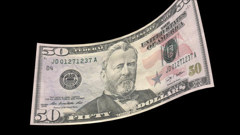 US 50 Dollar Bill blowing in the wind Stock Video Footage