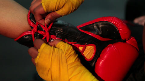 Tie on Boxing Gloves Long Version Stock Video Footage