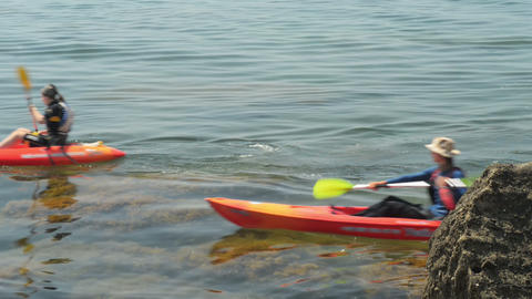 traveler kayaking in the Black sea from backward v Stock Video Footage