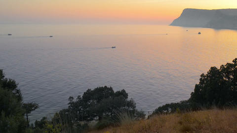 Boats on the sea during sunset Stock Video Footage