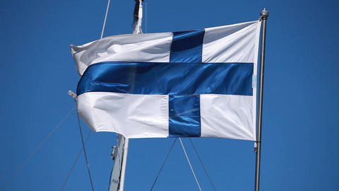 Finnish flag Stock Video Footage