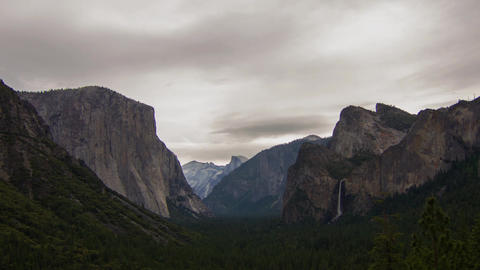 Cloudy Morning of Yosemite Valley Footage